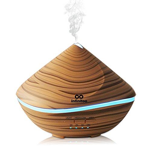 Diffusore di oli essenziali infinitoo 500ml diffusore aromi ultrasuoni umidificatore bambini spento automatico diffusore di aromi con 4 modalità a regolare tempo e 7 colori per camera,yoga,spa,ufficio