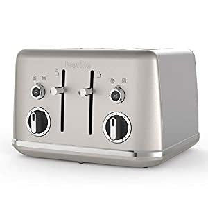 Breville Lustra 4-Slice Toaster with High Lift, Wide Slots and Independent 2-Slice Controls, Shimmer Cream [VTT851]