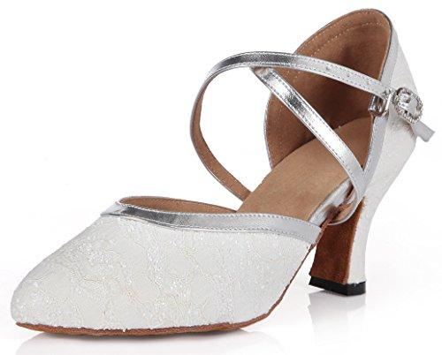 Mel Latina Com De Das Sapatos Rasgou Mulheres Laço Branco Sandálias Saltos Dança De Fivela Cetim gn4Hq4x