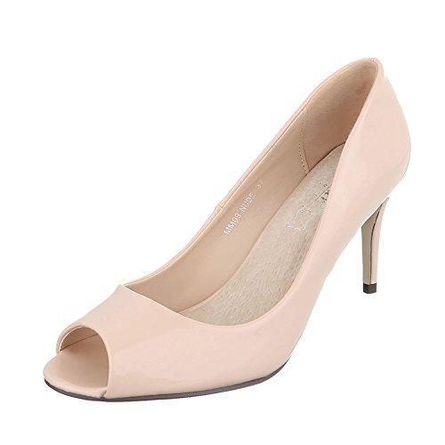 Ital-Design Peep Toe Damen-Schuhe Peep-Toe Pfennig-/Stilettoabsatz High Heels Pumps Beige, Gr 36, Mm09- (Heels Slingback Toe)