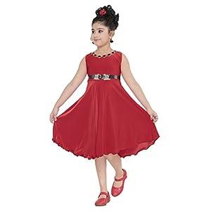YAYAVAR Girls' Knee Length Dress.
