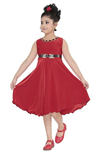 YAYAVAR Girls Crepe Silk Red Colored Casual/Party Wear Western Frock for Girls...