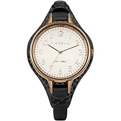 Fiorelli Women's Quartz Watch with White Dial Analogue Display and Black Leather Strap FO006BRG