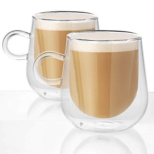 Juego de 2 tazas de 275 ml con aislamiento de doble pared   Vasos de café resistentes al calor M&W
