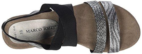 Marco Tozzi 28113, Sandales Bout Ouvert Femme Noir (Black Comb 098)