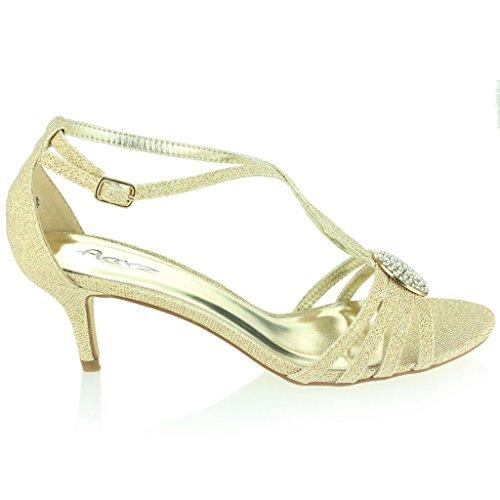 Femmes Dames Broche en Cristal à Lanières Diamante Svelte Talon Moyen Soir Fête Mariage Bal de Promo Des sandales Chaussures Taille Or