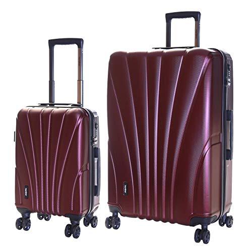 Karabar Set di 2 Trolley Bagaglio a Mano e da Stiva Valigie Rigida Leggera XL 76 cm 4,5 kg 100 L S 55 cm 2,5 kg 35 L con Rotelle Pivotanti e Lucchetto TSA Integrato, Seashell Rosso