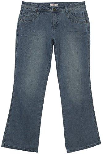 sheego Jeans Bootcut Boot Cut Damen Hose Pants Stretch Used Look Kurzgröße, Farbe:jeansblau;Damengrößen:23 - Bootcut-jeans Bestickt