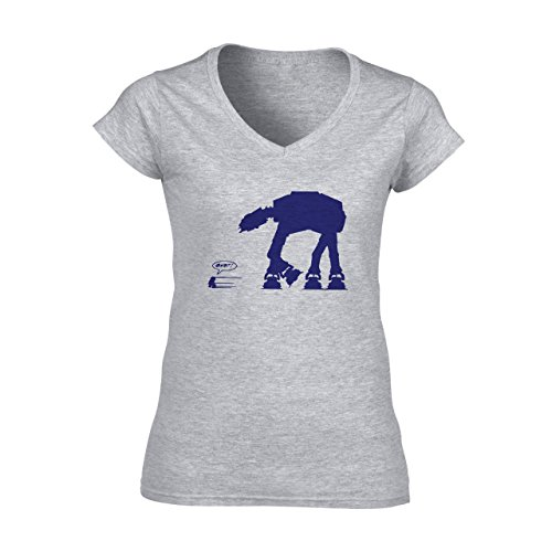 Robot Metal Cyborg Cartoon Star Wars Dark Blue Edition Damen V-Neck T-Shirt Grau