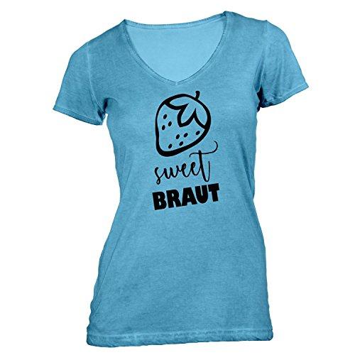 Damen T-Shirt V-Ausschnitt - JGA Braut Erdbeere Sweet - Junggesellenabschied Hellblau