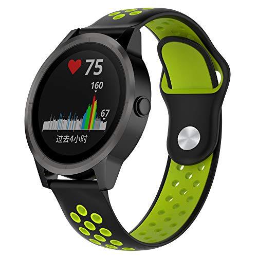 JiaMeng para Garmin vivoactive Reloj,Banda de Reloj de Silicona Suave reemplazo Reemplazo Correa de Reloj de Silicona Suave(Negro + Lima)