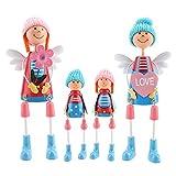 4 UNIDS Familia Muñecas Ornamento Conjunto Exquisito Figuras De Madera de Juguete Muñecas En...