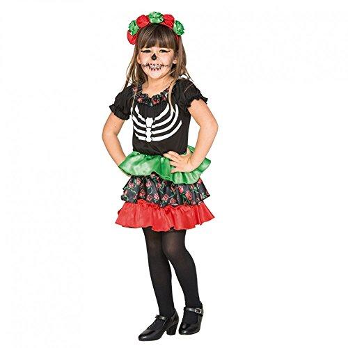 Kinderkostüm Catrina Mädchen Gr. 80- 98 Kleid Haarreif Halloween Tag der Toten (80/86)