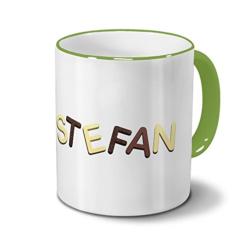 Tasse mit Namen Stefan - Motiv Schokoladenbuchstaben - Namenstasse, Kaffeebecher, Mug, Becher,...