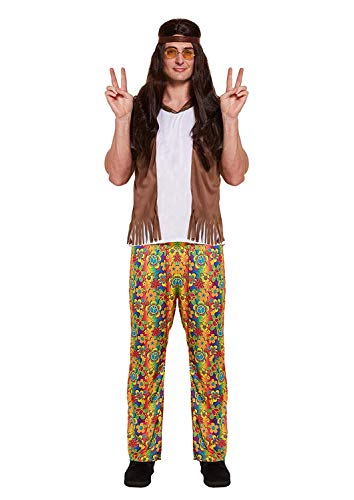 Mode 1970er Jahren Kostüm - Emmas Garderobe 70er Jahre Kostüm für Retro Partei - Flower Power Hippie-Outfit in UK Größe M L XL (Men: Large, Hippy)