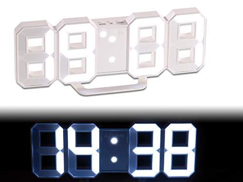 Lunartec LED Wanduhr 3D: Große Digital-LED-Tisch- & Wanduhr, 7 Segmente, dimmbar, Wecker, 21 cm (Digitale Uhr), Weiß