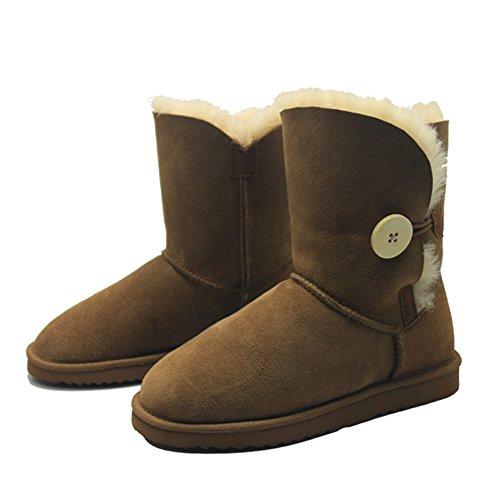 BamboBär Bailey Button Boots mit Lammfell und echtes Leder Damen Stiefel Schlupfstiefel Winter Boots (39, Braun ( Chestnut)) (Schnee Stiefel Echtes Leder)
