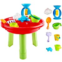 deAO Sand and Water Play Table for Children Summer Toys Playset Outdoor Activity Table with Assorted Accessories Included