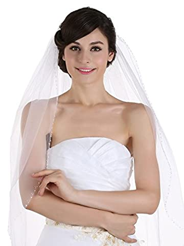 1T 1 Tier Beaded Edge Bridal Wedding Veil - White Cathedral Length 108 by Venus Jewelry