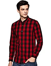 Amazon Brand - Symbol Men's Checkered Slim Fit Casual Shirt