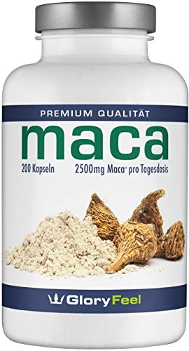GloryFeel® Maca Kapseln Hochdosiert - 200 Vegane Kapseln für 7 Monate - Original Maca-Wurzel Extrakt aus Peru plus Vitamin B12 - Laborgeprüft und hergestellt in Deutschland
