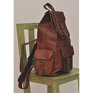 braun Leder Rucksack Vintage Rucksack Laptop Kleidersack wasserdicht lässig Daypack College Bookbag komfortable leichte Reisen Wandern/Picknick für Männer L x B x H - (8 x 8 x 16) cm