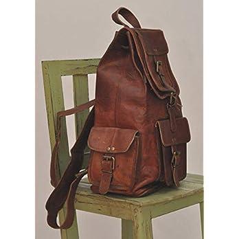 braun Leder Rucksack Vintage Rucksack Laptop Kleidersack wasserdicht lässig Daypack College Bookbag komfortable leichte Reisen Wandern/Picknick für Männer L x B x H – (8 x 8 x 16) cm