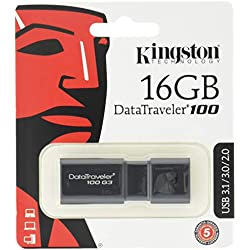 Kingston DT100G3/16GB DataTraveler 100 G3, USB 3.0, 3.1 Flash Drive, 16 GB, NOIR