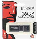 Kingston DT100G3/16GB DataTraveler 100 G3, USB 3.0, 3.1 Flash Drive, 16 GB, Black