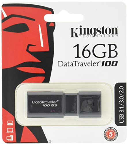 Kingston DT100G3/16GB DataTraveler 100 G3, USB 3.0, 3.1 Flash Drive, 16 GB, schwarz