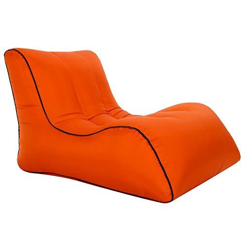BUUYEJI Aufblasbare Liege mit Tragetasche und Taschen für drinnen und draußen - aufblasbare Couch & aufblasbares Sofa mit Kopfstütze & Securi Orange - Home-securi