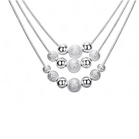 CLOCOLOR 45CM Collier Pendentif Plaqué Argent en Style de Perlés Trois Fils Cadeau d'Anniversaire, 100% Nouvelle