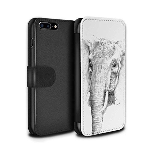 Stuff4 Coque/Etui/Housse Cuir PU Case/Cover pour Apple iPhone SE / Lion Design / Dessin Croquis Collection éléphant