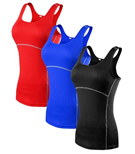 YR.Lover Damen 3er Pack Dry Fit Kompression Running Yoga Tank Top T-Shirt,  XXL, 3er Pack;schwarz.blau.rot - Tight-fit Compression Shirt