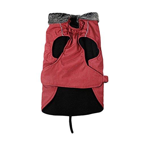 LvRao Wasserdicht Winddichter Sherpa-fleece Hunde Mantel Winterjacke Einstellbare Für Große Hund Haustier Mit Reflektierende Pfote (Rot, M)