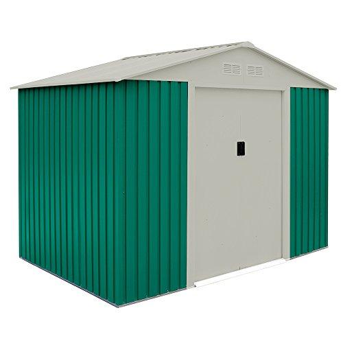 Box Casetta arredo giardino esterno lamiera verde zincata 261x181xH198cm BASIC L - Fogli Tetto
