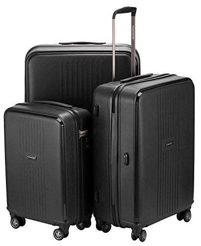 HAUPTSTADTKOFFER® 3er Kofferset (37, 71 & 110 Liter) · Handgepäck + Reisekoffer · F-HAIN · TSA Schloss · in verschiedenen Farben (Schwarz) Schwarz