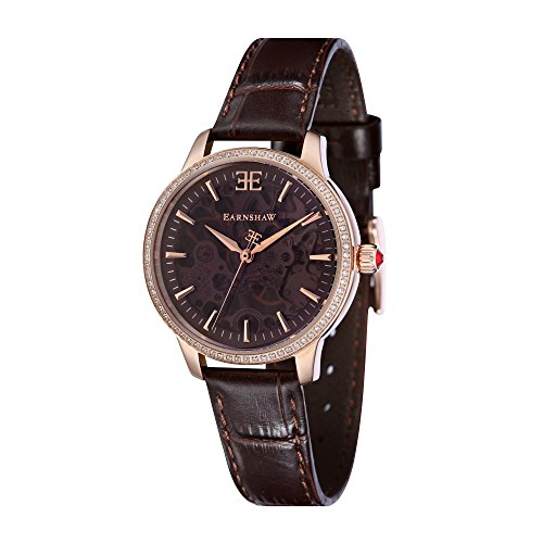 Thomas Earnshaw Women's 'LADY' Mechanical Hand Wind Stainless Steel and Leather Casual Watch, Color Brown (Model: ES-8056-03)