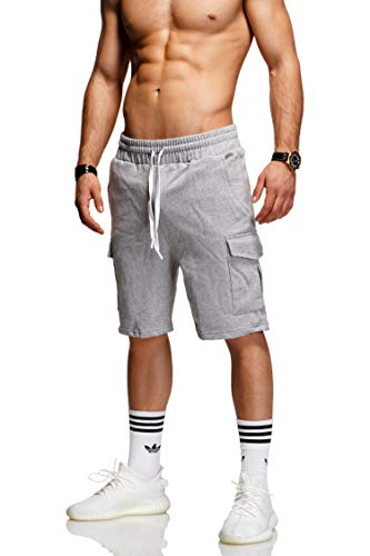 behype. Herren Sweat-Shorts Kurze Hose Sport-Hose Jogging-Hose Trainings-Hose Freizeit Side-Stripe 60-8110 (M, Hellgrau (1802)) -
