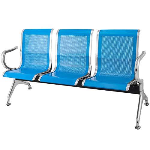 Chrisun Banc D'attente Salle D'Attente Banc sur Poutre Banc en Treillis Banc en Fer Salle D'Attente avec Dossier pour Banquette D'Aéroport (Bleu)