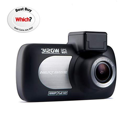 Nextbase 312GW - Full 1080p HD In-Car Dash Camera DVR - 140° Viewing Angle - WiFi and GPS - Black Logo