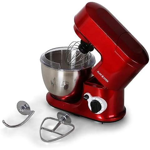 Klarstein Carina Rossa robot de cocina (bol de acero inoxidable de 4 l, 3 accesorios para batir y amasar) -