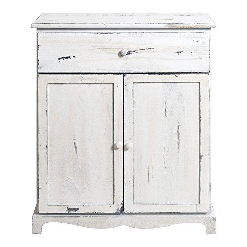 Mobili Rebecca® Anrichte Sideboard Holzgehäuse weißer Vintage Shabby Chic mit 2 Türen 1 Schublade Landhausstil Rustikal (Kode RE4464)