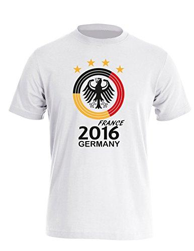 Deutschland EM 2016 Kreismotiv - Herren Rundhals T-Shirt Weiss/Schwarz-Rot-Gelb