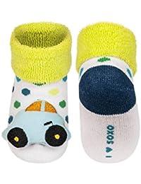 BLUCAR - Chaussettes d'éveil bébé avec hochet 3D antidérapantes BBKDOM