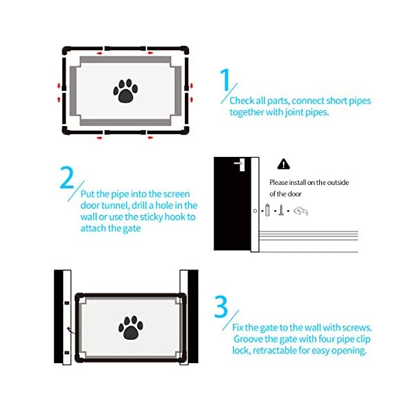 PETCUTE Dog Gate retractable baby gates for dogs dog gate for stairs mesh pet gate for stairs, door,kitchen PETCUTE This retractable gate will help keep your pet or baby safe in your home,keep them safe and away from kitchen or stairs. High Quality:BuiLZ with tough partially see-through woven mesh fabric woven to withstand abuse from pets. Easy to Install: You can either drill holes on the door or simplely use the sticky hooks to fix the pipes. We have 4 sticky hooks in the package, they will not damage the wall and are suitable for smooth surface like ceramic tile, marble, glass. 4