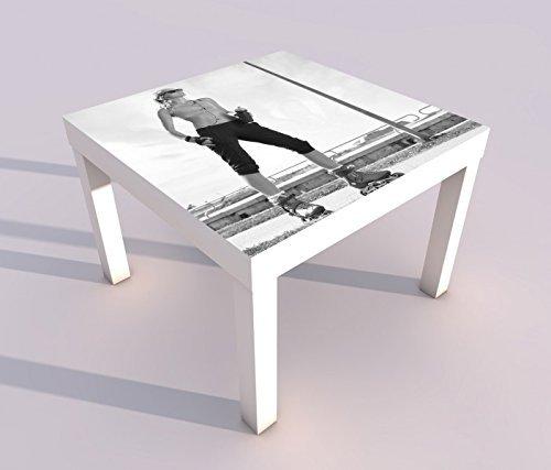 Design - Tisch mit UV Druck 55x55cm schwarz weiss Sport Frau Fittness Inline-Skates Inlineskaten Spieltisch Lack Tische Bild Bilder Kinderzimmer Möbel 18A2316, Tisch 1:55x55cm
