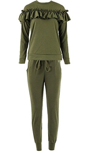 kids-childrens-ruffle-frill-detail-loungewear-2-piece-tracksuit-jogger-top-2-13-6-yrs-khaki