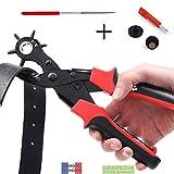 TAKIT Alicate Sacabocados Agujeros Cinturon - Perforador De Cuero - GARANTÍA DE POR VIDA - Punzón Resistente Para Cinturones, Bolsos, Pulseras - 2mm, 2,5mm, 3mm, 3,5mm, 4mm, 4,5mm - Vástago Incluido