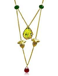Miranika Gold Plated Multi Strand Necklace for Women (Multi-Colour)(C1D19GRP)